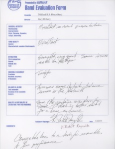 National Concert Band Festival Evaluation by H. Robert Reynolds